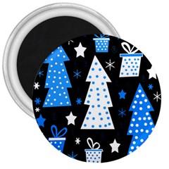 Blue playful Xmas 3  Magnets