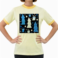 Blue playful Xmas Women s Fitted Ringer T-Shirts