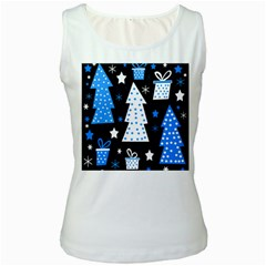 Blue playful Xmas Women s White Tank Top
