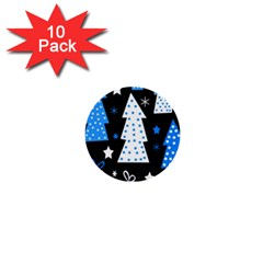 Blue playful Xmas 1  Mini Buttons (10 pack)