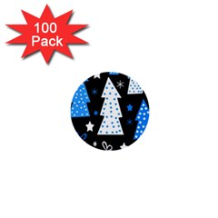 Blue playful Xmas 1  Mini Buttons (100 pack)