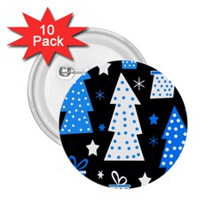 Blue playful Xmas 2.25  Buttons (10 pack)