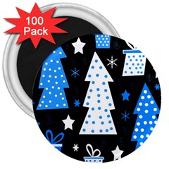 Blue playful Xmas 3  Magnets (100 pack)
