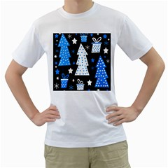 Blue playful Xmas Men s T-Shirt (White) (Two Sided)