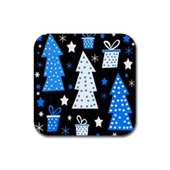 Blue playful Xmas Rubber Square Coaster (4 pack)
