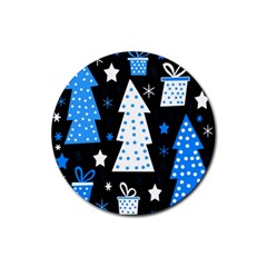 Blue playful Xmas Rubber Round Coaster (4 pack)