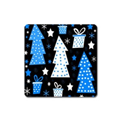 Blue playful Xmas Square Magnet