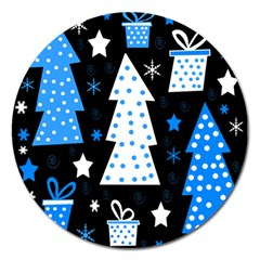 Blue playful Xmas Magnet 5  (Round)