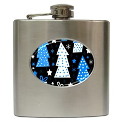 Blue playful Xmas Hip Flask (6 oz)