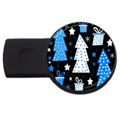 Blue playful Xmas USB Flash Drive Round (1 GB)