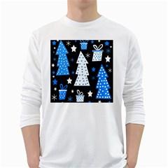 Blue playful Xmas White Long Sleeve T-Shirts