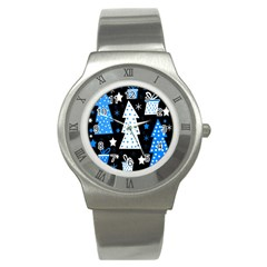 Blue playful Xmas Stainless Steel Watch