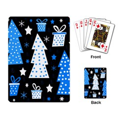 Blue playful Xmas Playing Card