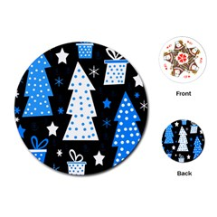 Blue playful Xmas Playing Cards (Round)