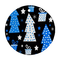 Blue playful Xmas Round Ornament (Two Sides)