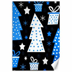 Blue playful Xmas Canvas 12  x 18