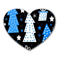 Blue playful Xmas Heart Mousepads