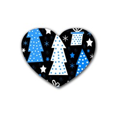 Blue playful Xmas Rubber Coaster (Heart)
