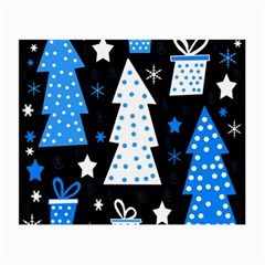 Blue playful Xmas Small Glasses Cloth (2-Side)