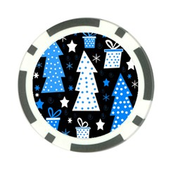 Blue playful Xmas Poker Chip Card Guards