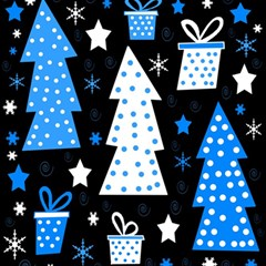 Blue playful Xmas Magic Photo Cubes