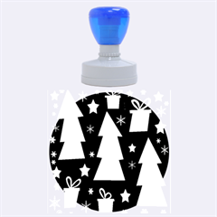 Blue playful Xmas Rubber Round Stamps (Large)
