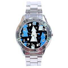 Blue playful Xmas Stainless Steel Analogue Watch