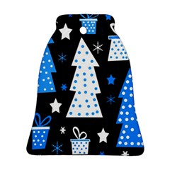 Blue playful Xmas Bell Ornament (2 Sides)