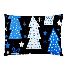 Blue playful Xmas Pillow Case (Two Sides)