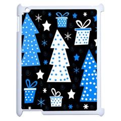 Blue playful Xmas Apple iPad 2 Case (White)
