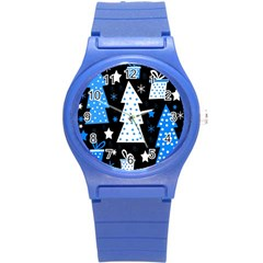 Blue playful Xmas Round Plastic Sport Watch (S)