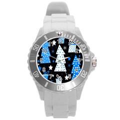 Blue playful Xmas Round Plastic Sport Watch (L)