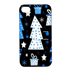 Blue playful Xmas Apple iPhone 4/4S Hardshell Case with Stand