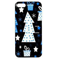 Blue playful Xmas Apple iPhone 5 Hardshell Case with Stand