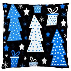 Blue playful Xmas Large Flano Cushion Case (Two Sides)