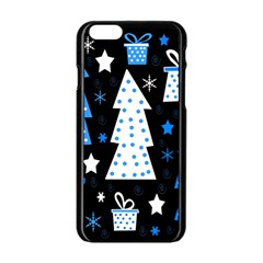 Blue playful Xmas Apple iPhone 6/6S Black Enamel Case