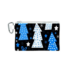 Blue playful Xmas Canvas Cosmetic Bag (S)