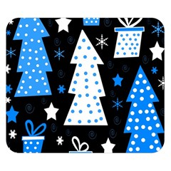 Blue playful Xmas Double Sided Flano Blanket (Small)