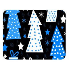 Blue playful Xmas Double Sided Flano Blanket (Large)