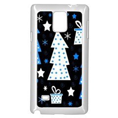 Blue playful Xmas Samsung Galaxy Note 4 Case (White)