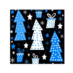 Blue playful Xmas Small Satin Scarf (Square)