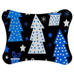 Blue playful Xmas Jigsaw Puzzle Photo Stand (Bow)