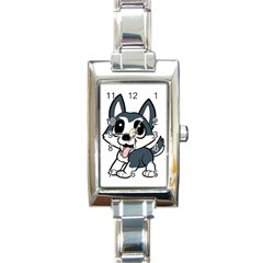 Pomsky Cartoon Rectangle Italian Charm Watch