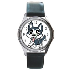 Pomsky Cartoon Round Metal Watch