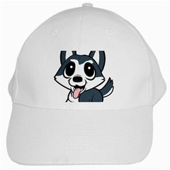 Pomsky Cartoon White Cap