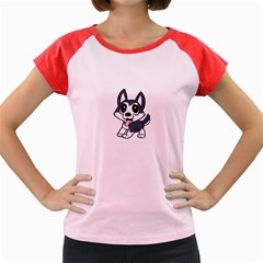 Pomsky Cartoon Women s Cap Sleeve T-Shirt