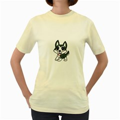 Pomsky Cartoon Women s Yellow T-Shirt