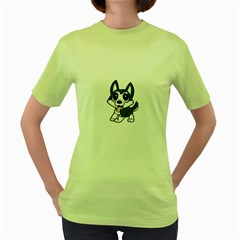Pomsky Cartoon Women s Green T-Shirt