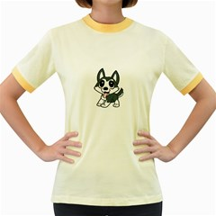 Pomsky Cartoon Women s Fitted Ringer T-Shirts