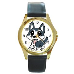 Pomsky Cartoon Round Gold Metal Watch